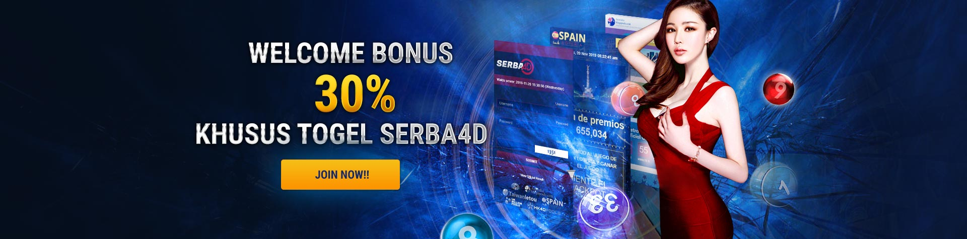 Slideshow Depobola Welcome Bonus 30 % Serba4D
